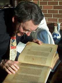 Phil Payne examining Bibliorum Sacrorum Graecorum Codex Vaticanus B