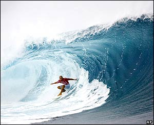 Association of Surfing Professionals world champion Kelly Slater at the Billabong Pro Tahiti title in Teahupoo, Tahiti